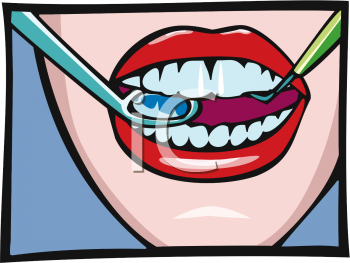 Royalty Free Clipart Image: Woman's Mouth with Dental Pick and Mirror.