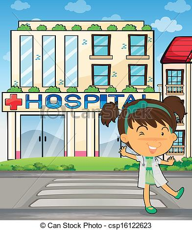 Vector Illustration of A smiling doctor in front of the hospital.