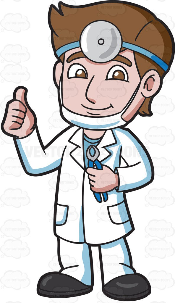 A Dentist Giving A Thumbs Up Sign Cartoon Clipart.