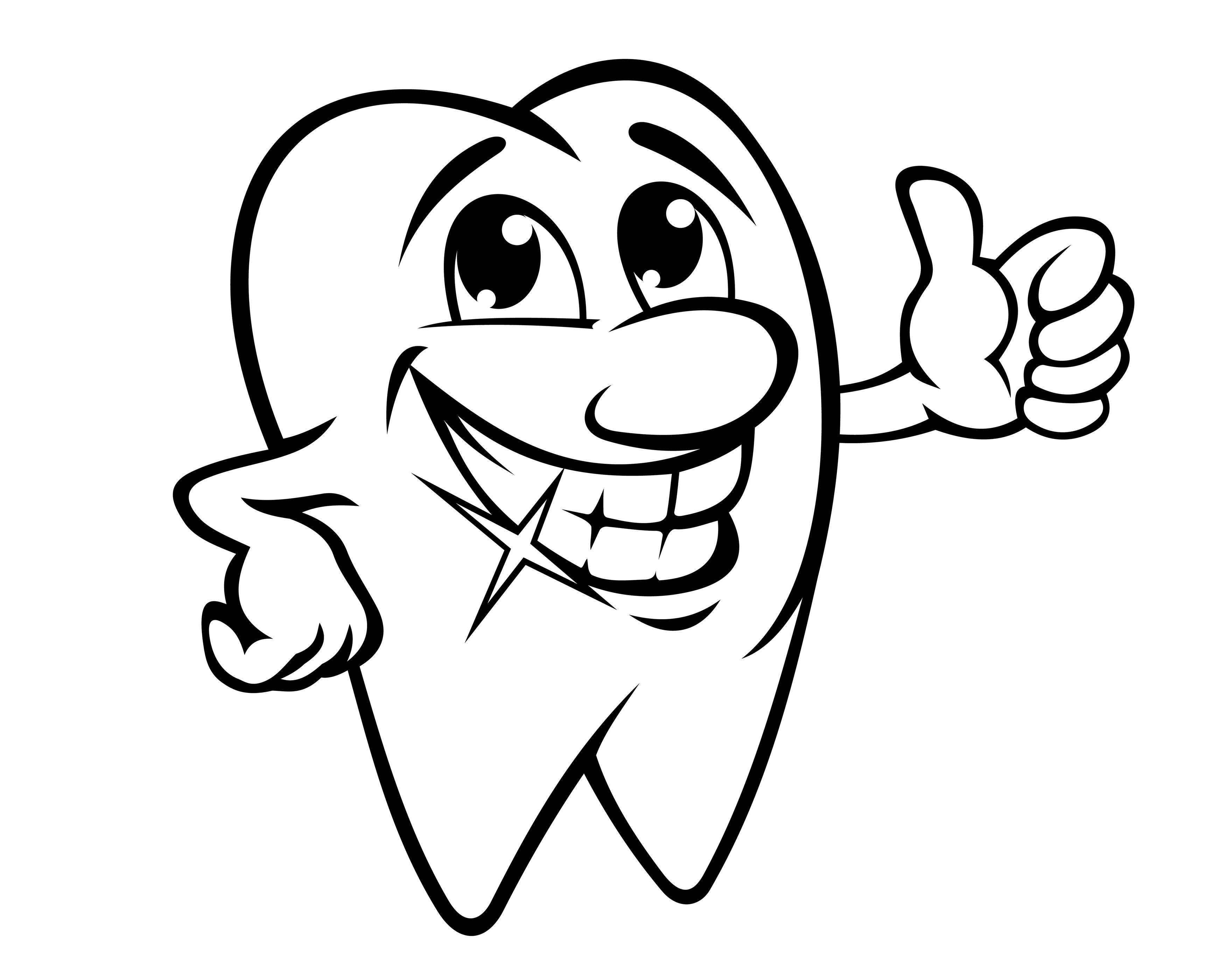 On Dentist Clipart Black And White Dental Happy Tooth 17.