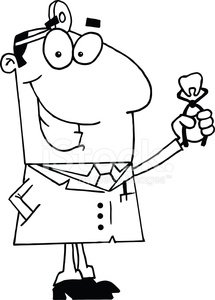 Black and White Dentist Holding A Tooth premium clipart.