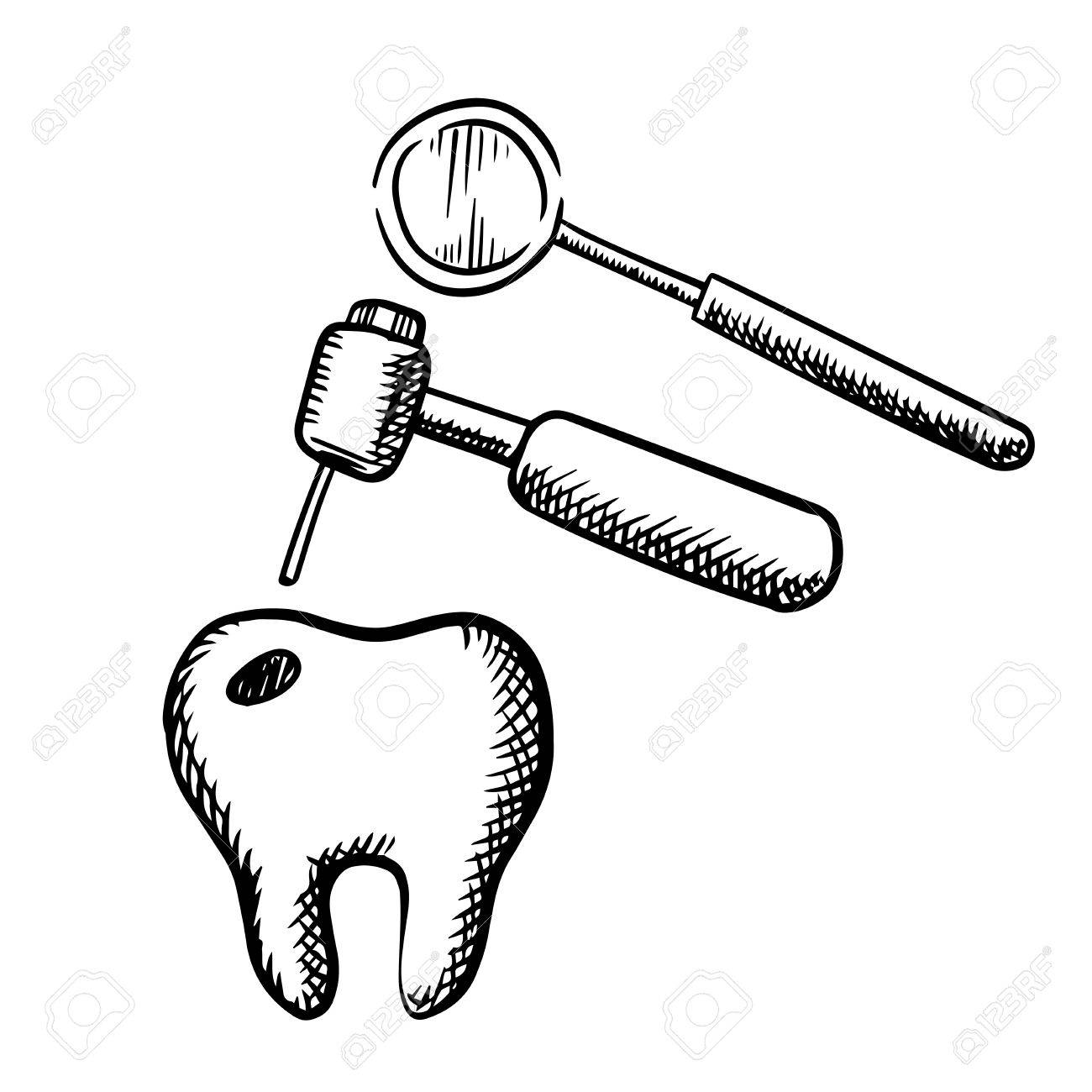 Tooth with decay, dental drill and mirror, isolated on white...