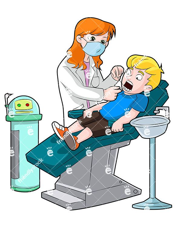 A Female Dentist Flossing The Teeth Of A Little Boy In The.