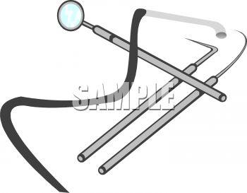Royalty Free Clipart Image: Dental Tools, Mirror and Picks.