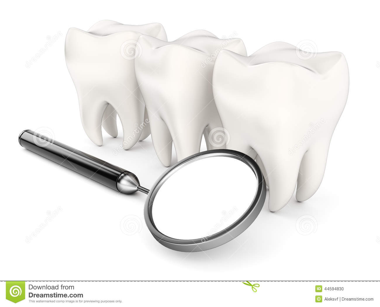 Teeth And Dental Mirror Stock Illustration.