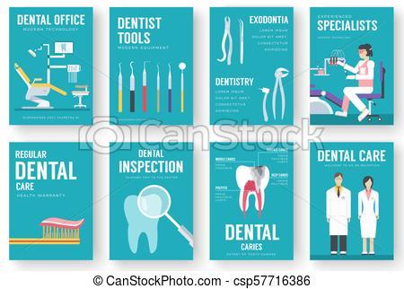Dental office interior illustration background. Dentist icons concept.