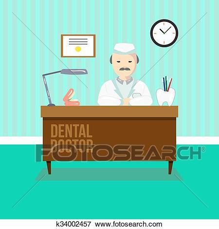 Dentist in dental clinic Clip Art.