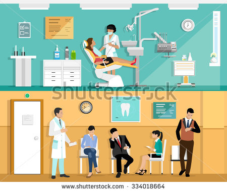 Set Flat Colorful Vector Dentist Office Stock Vector 334018664.