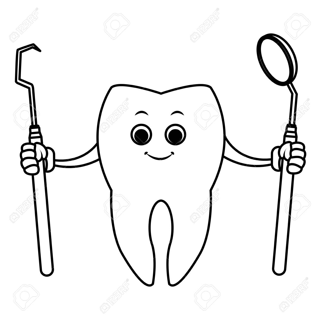 Tooth with dental tools cartoon icon vector illustration graphic...