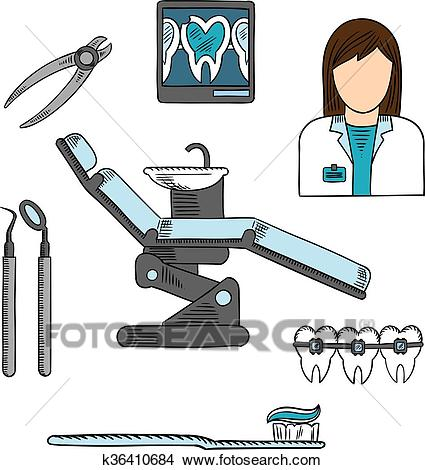 Dentist with tools and equipments colored sketch Clipart.