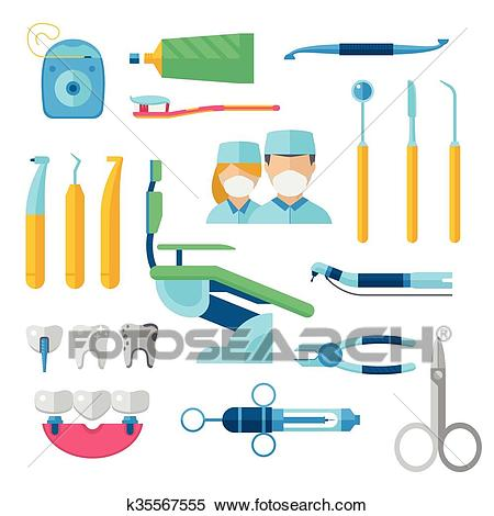 Flat dental instruments set dentist tools concept vector illustration.  Clipart.