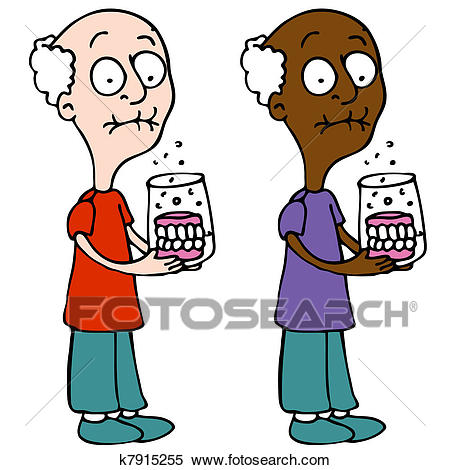 Cleaning Dentures Clipart.