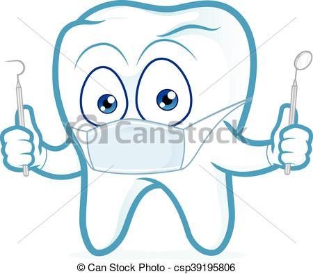 Dentysta, narzędzia, dzierżawa, ząb. Obraz, clipart, litera.