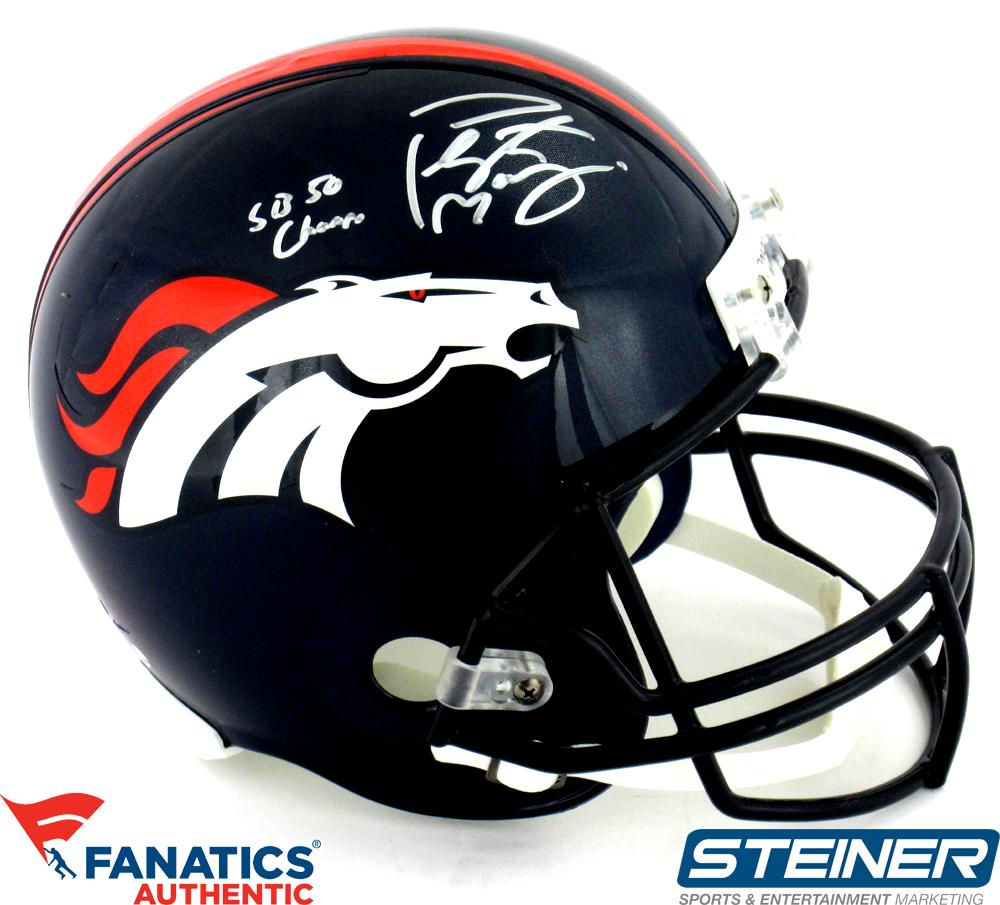 Peyton Manning Signed Denver Broncos Riddell Full Size Replica NFL Helmet  with