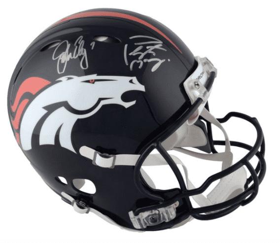 Peyton Manning / John Elway Dual Signed Denver Broncos Helmet Autograph COA.