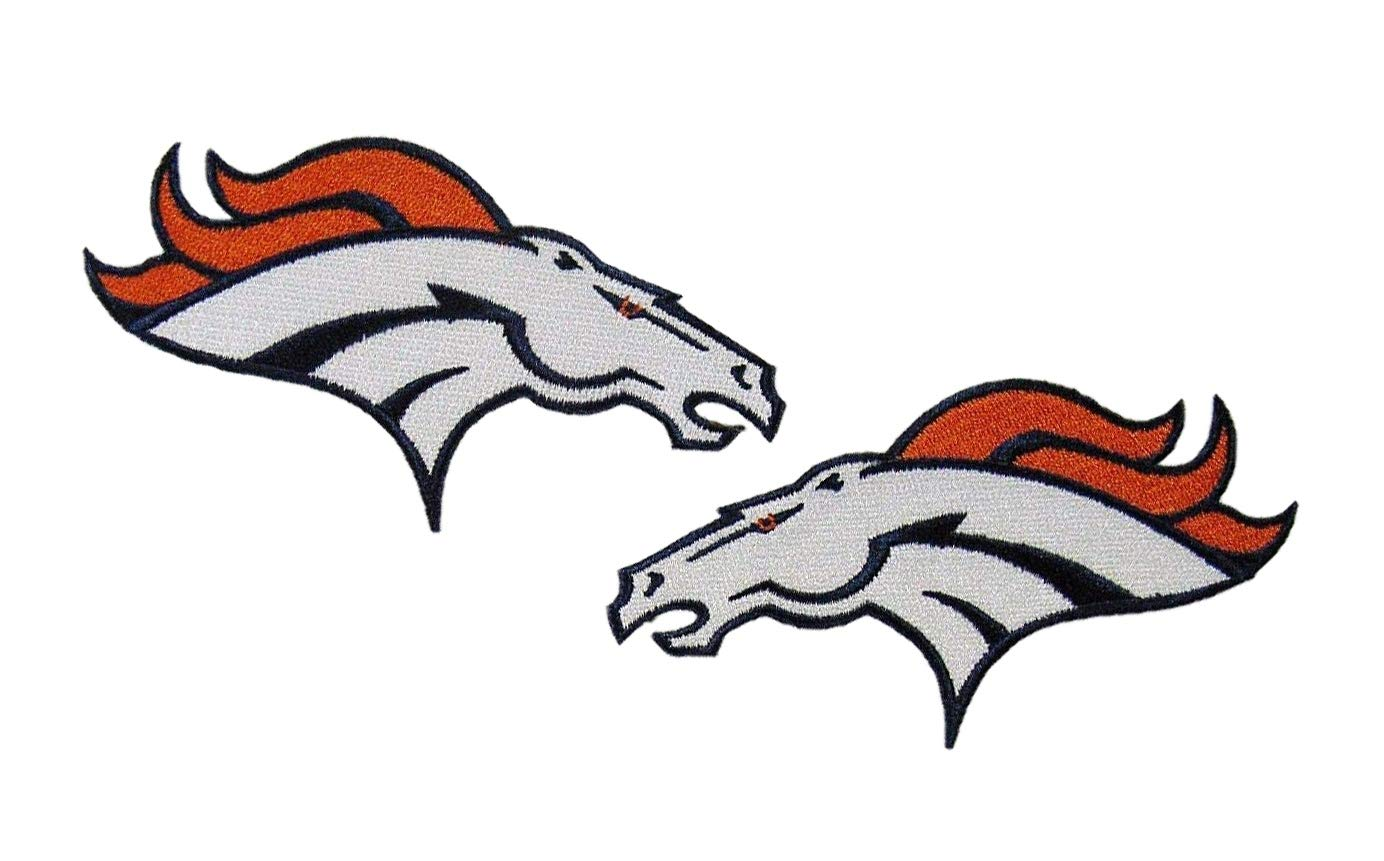 Denver Broncos Logo NFL Iron on Patches 4.5 inch Set of 2.