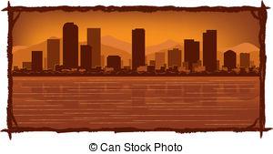 EPS Vectors of Denver, Colorado skyline. Detailed vector.