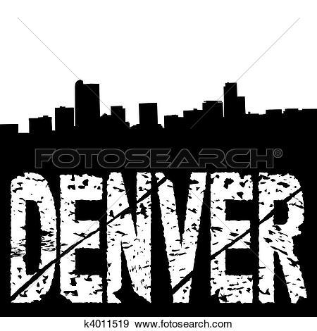 Clip Art of Grunge Denver skyline with text k8020092.