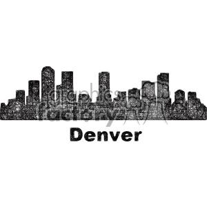 black and white city skyline vector clipart USA Denver . Royalty.