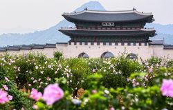 Korea Deoksugung Palace Wall Stock Photo.