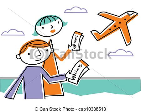 Clipart of Two people holding cheap tickets and looking at.