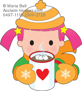 Child Drinking Hot Chocolate in Wintertime Clipart Image.