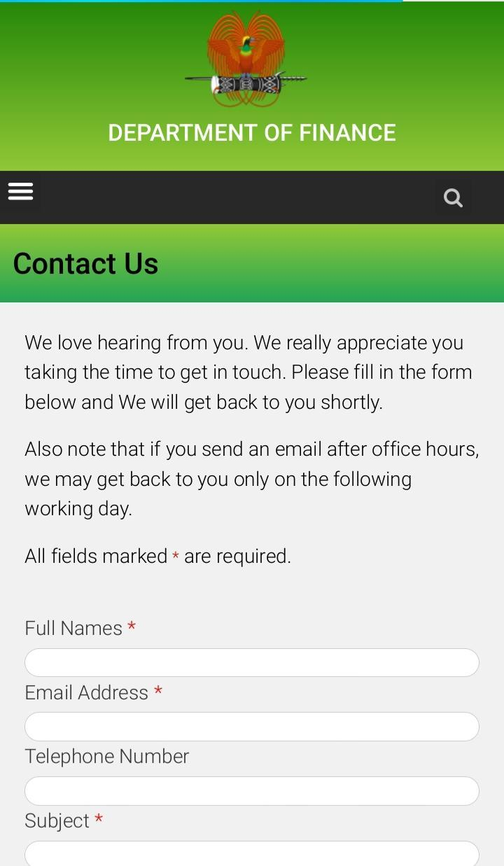 Department of Finance PNG for Android.