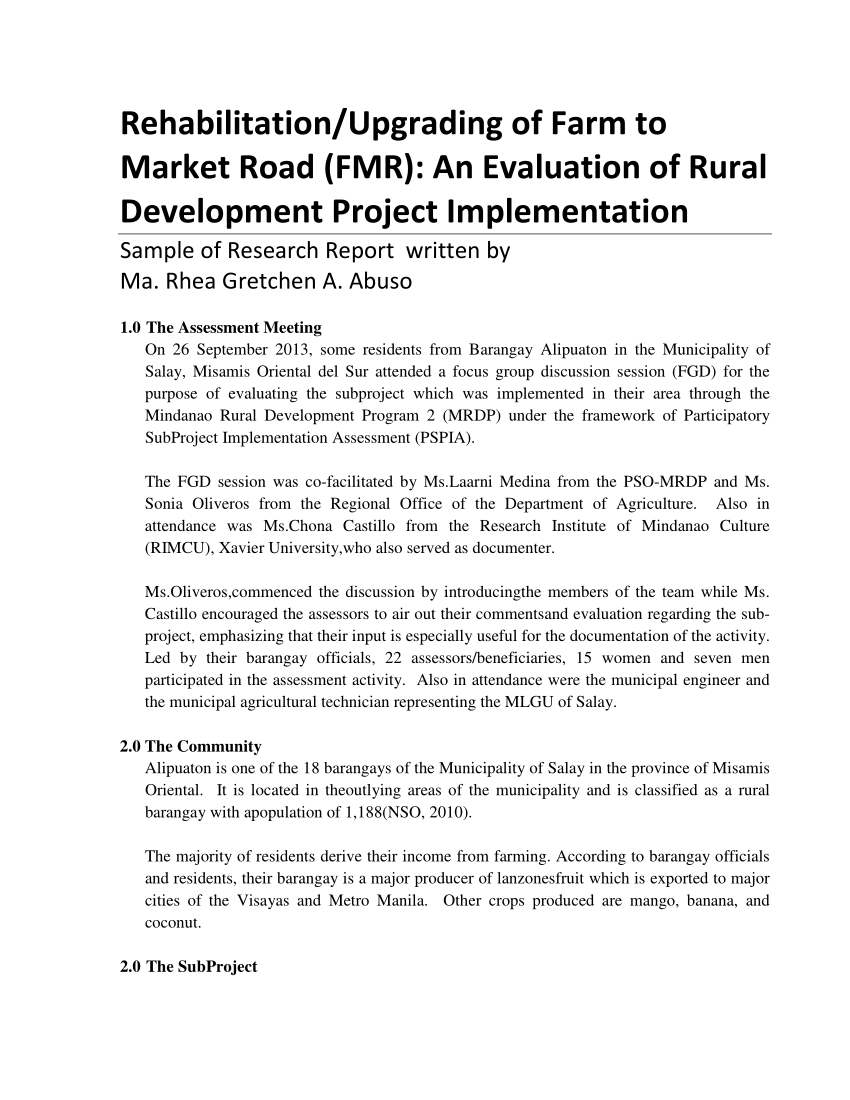 PDF) Rehabilitation/Upgrading of Farm to Market Road (FMR): An.