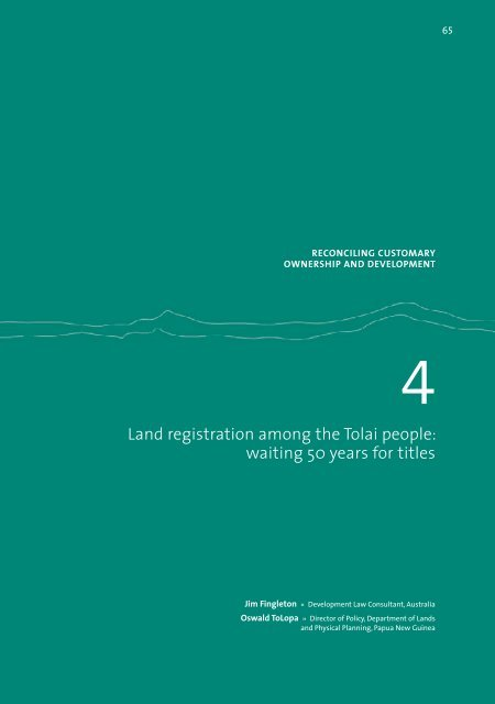 Land registration among the Tolai people: waiting 50 years.