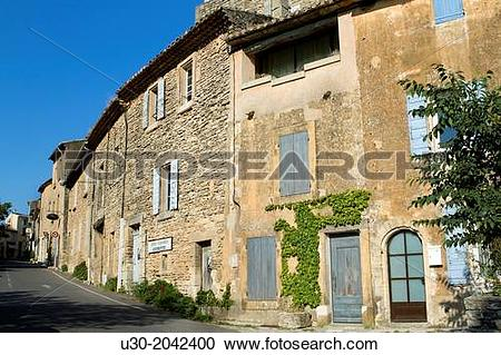 Stock Photography of Street of Gordes village, labeled The Most.