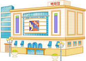 Drawing of shopping, city, architecture, building, department.