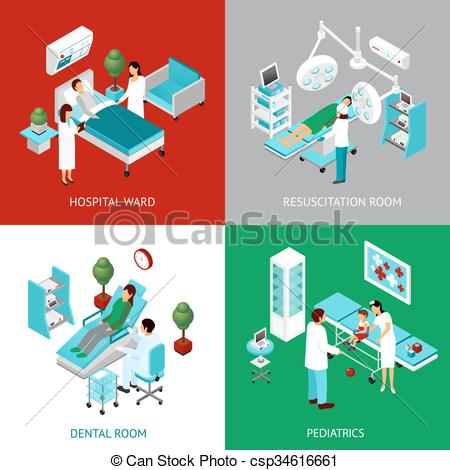 Clip Art Vector of Hospital Departments 4 IsometricIcons Square.