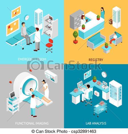 Clip Art Vector of Hospital departmens set.