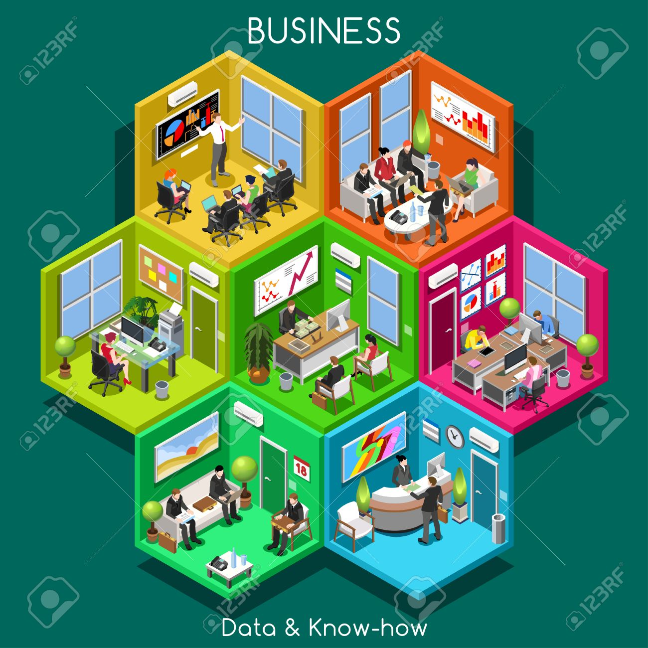 Abstract Business Office And Departments. Interacting People.