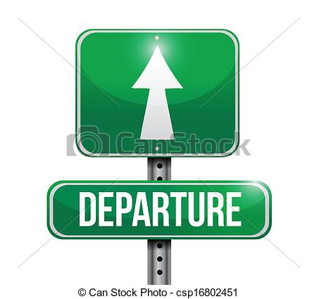 Clipart Vector of departure road sign illustration design over a.