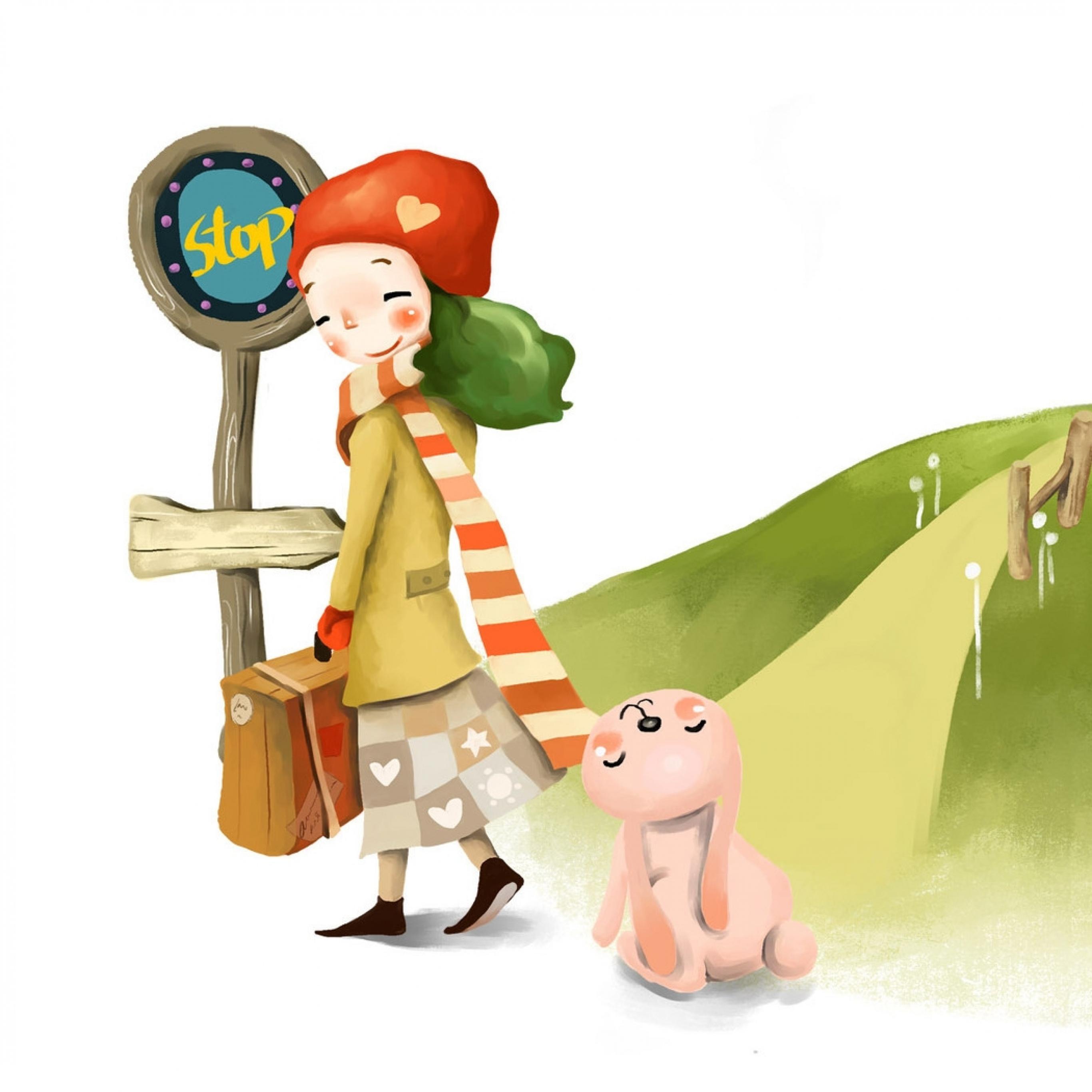 Download Wallpaper 2732x2732 Drawing, Girl, Departure, Suitcase.