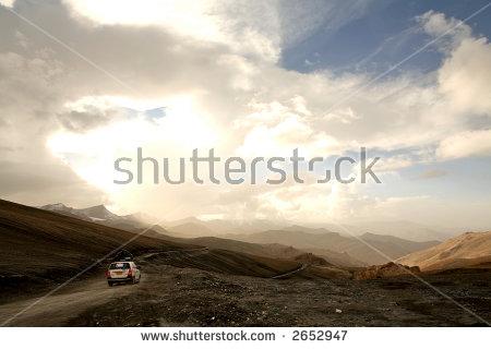 Man Beautiful Mountain Sunset Winter Landscape Stock Photo.