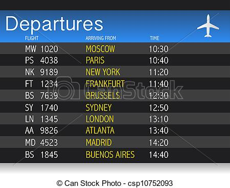 Stock Illustration of Airport time Departure table illustration.