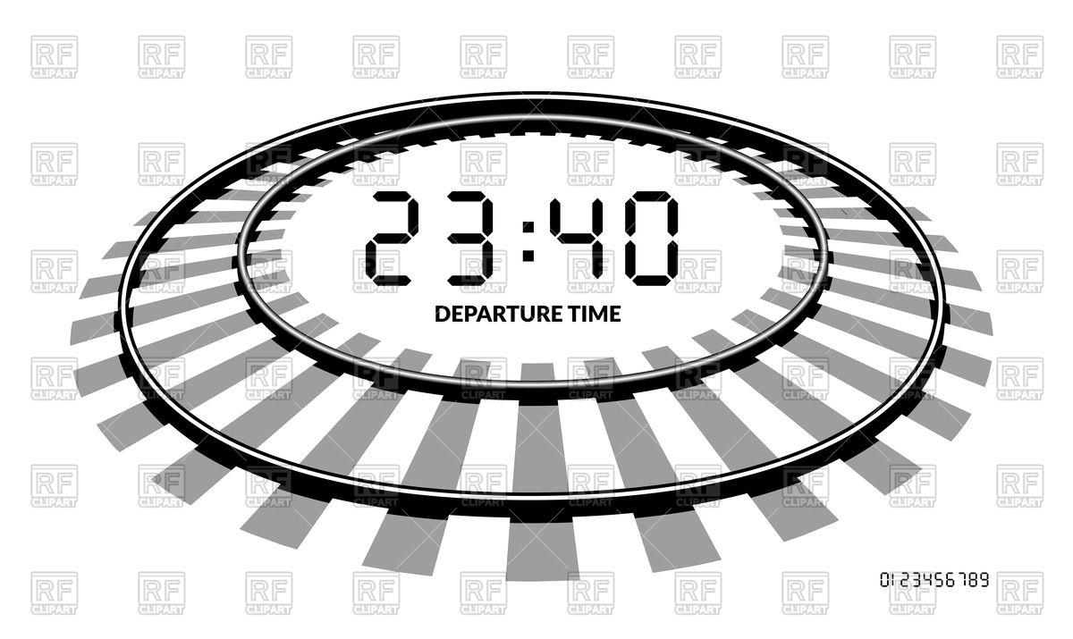 Railway clocks, railroad, departure time Vector Image #127606.