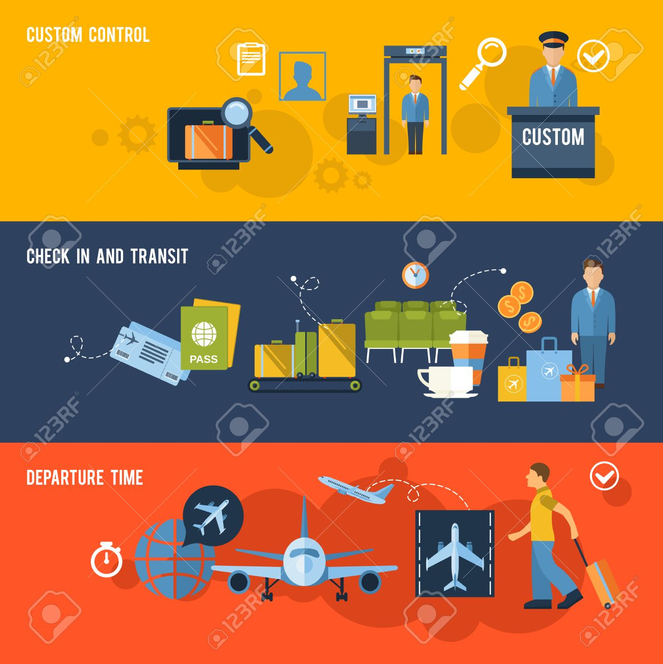 Airport Banner Set With Custom Control Check In And Transit.