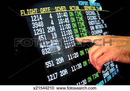 Stock Photography of Pointing to Departure Time x21544210.