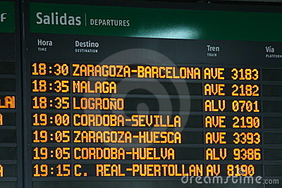 Panel With Departure Times Of Trains Stock Images.