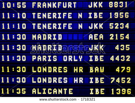 Display Panel Showing Flight Arrival Time Stock Photo 1718288.