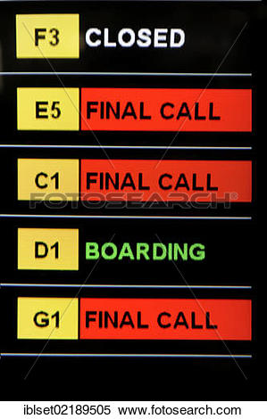 "Stock Image of ""Information board showing the departure times at."