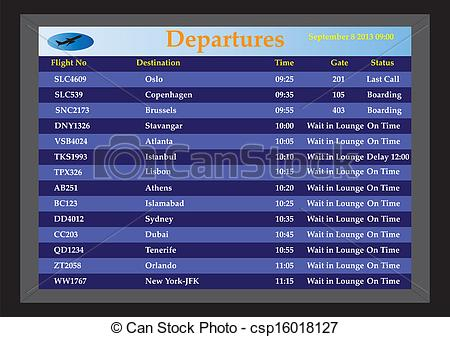 Vector Illustration of Airport Departures.