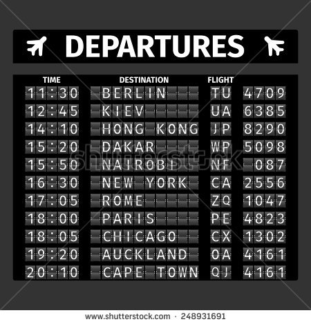 Airport Retro Analog Departure Board Timetable Stock Vector.