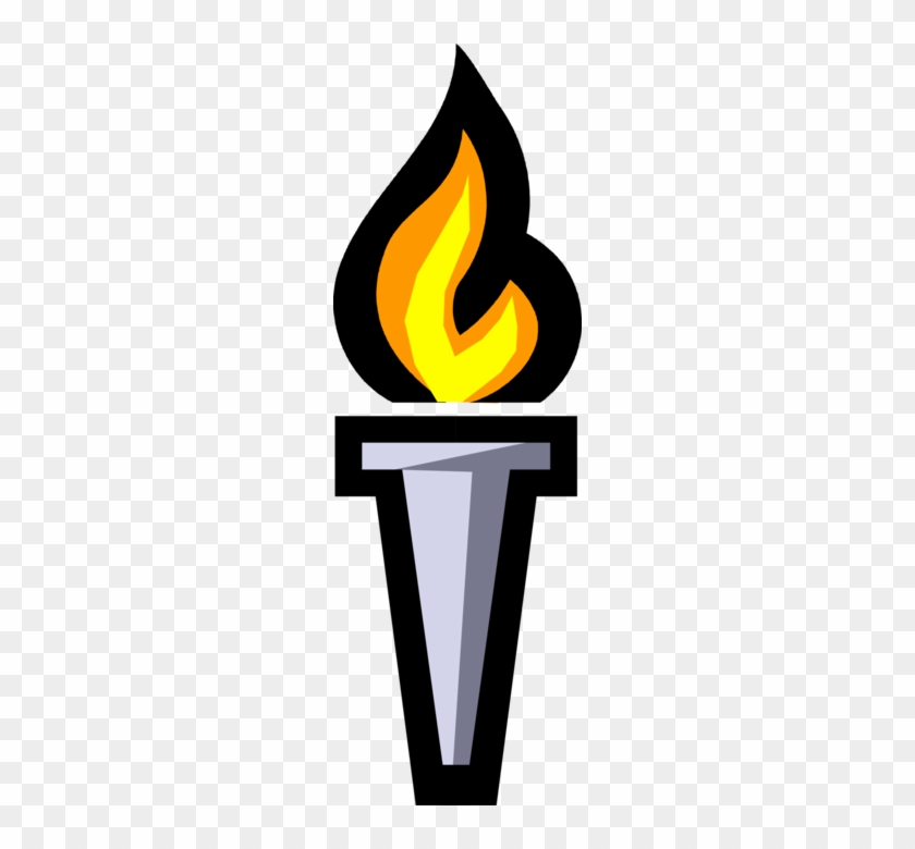 Vector Illustration Of Olympic Flame Commemorates Theft.