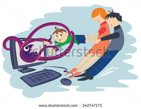 Children'S Internet Dependent Disease Stock Vector Illustration.