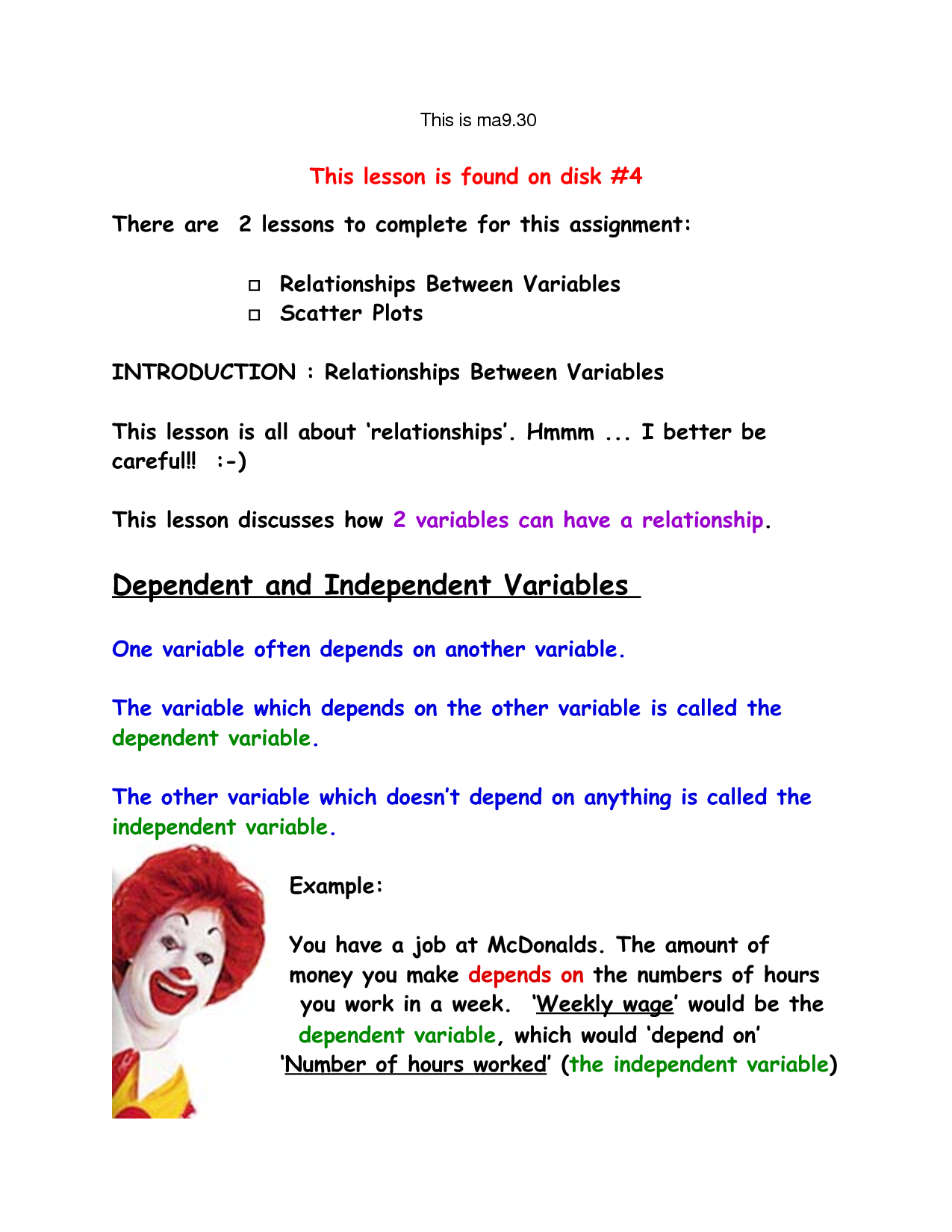Dependent Variable Examples For Kids