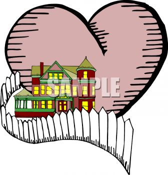 Two Story House with a Heart Depicting Home is Where the Heart Is.